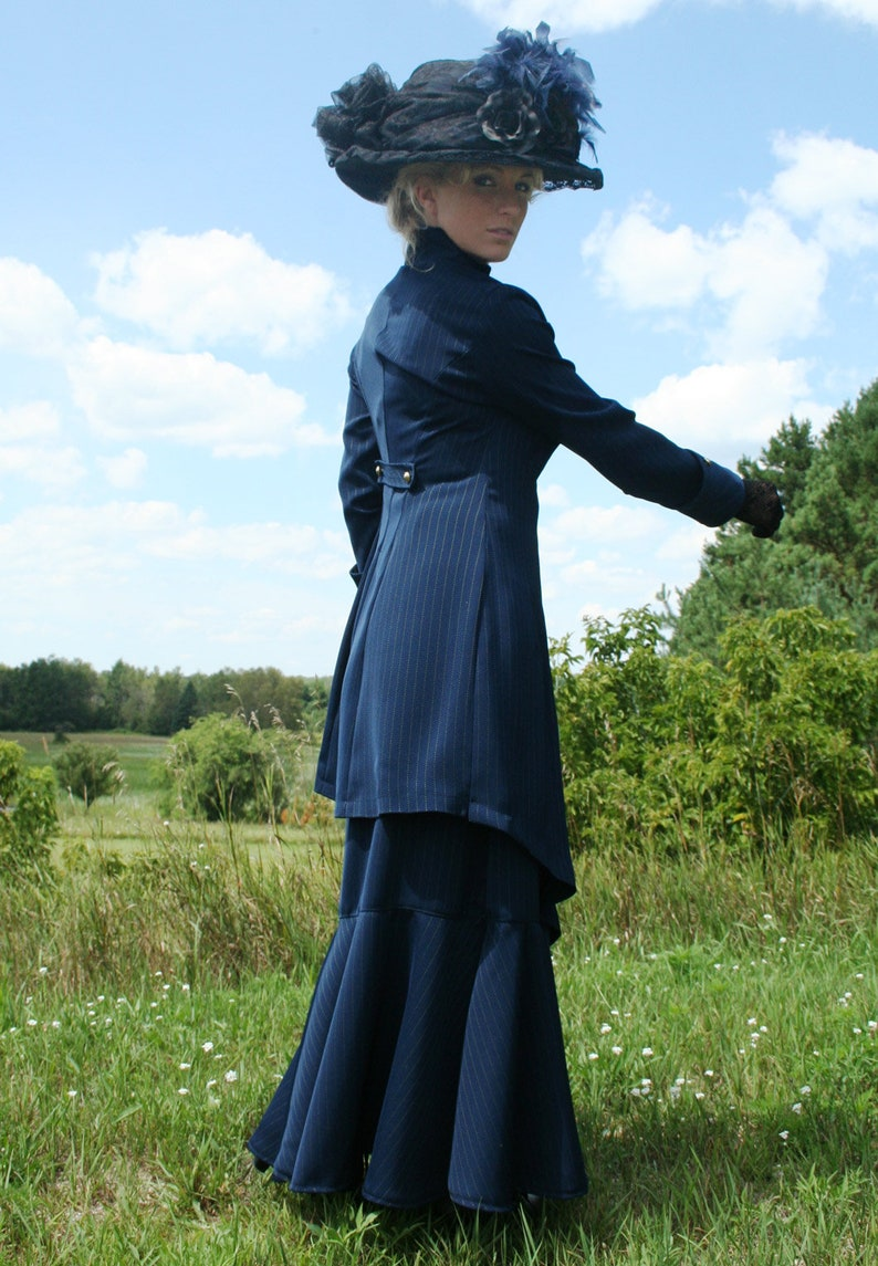 1920s Outfit Ideas: 10 Downton Abbey Inspired Costumes Indigo Pinstripe Edwardian Suit $269.95 AT vintagedancer.com