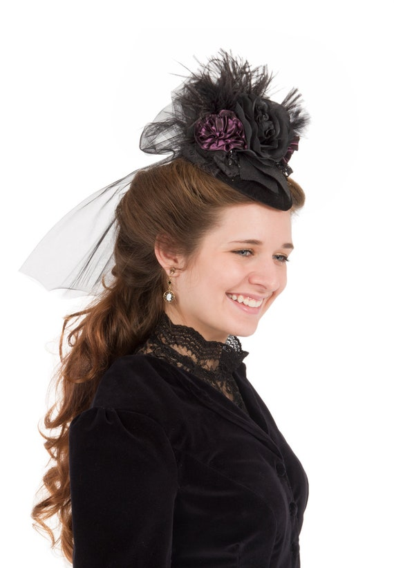 Victorian Hat History | Bonnets, Hats, Caps 1830-1890s Mary Angela Teardrop Hat $53.00 AT vintagedancer.com