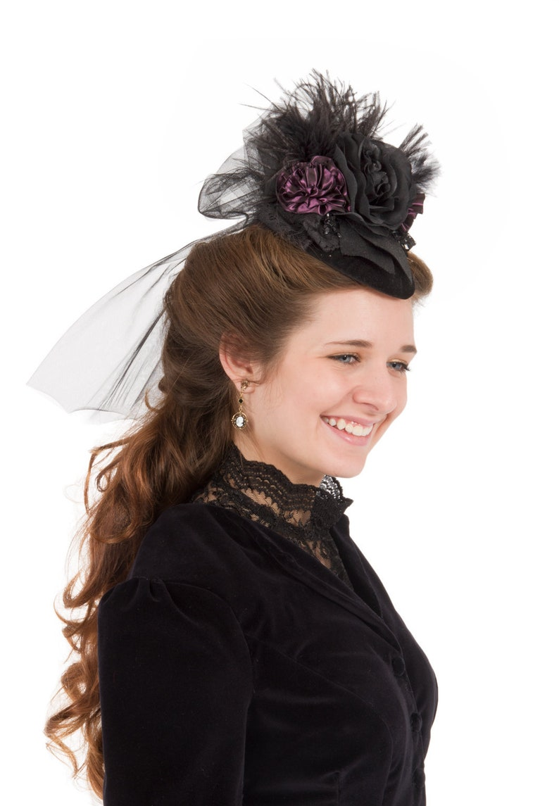 Victorian Hat History | Bonnets, Hats, Caps 1830-1890s Mary Angela Teardrop Hat $55.96 AT vintagedancer.com