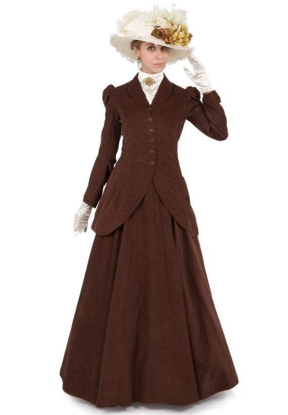 1900 Edwardian Dresses, Tea Party Dresses, White Lace Dresses Quinn Corduroy Riding Suit $210.00 AT vintagedancer.com