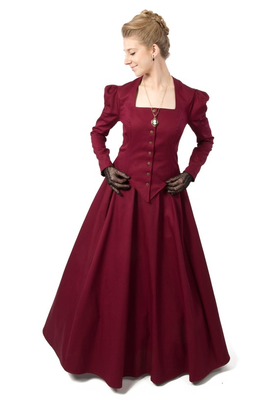 Victorian Dresses, Clothing: Patterns, Costumes, Custom Dresses Victorian inspired twill jacket with matching skirt $135.00 AT vintagedancer.com