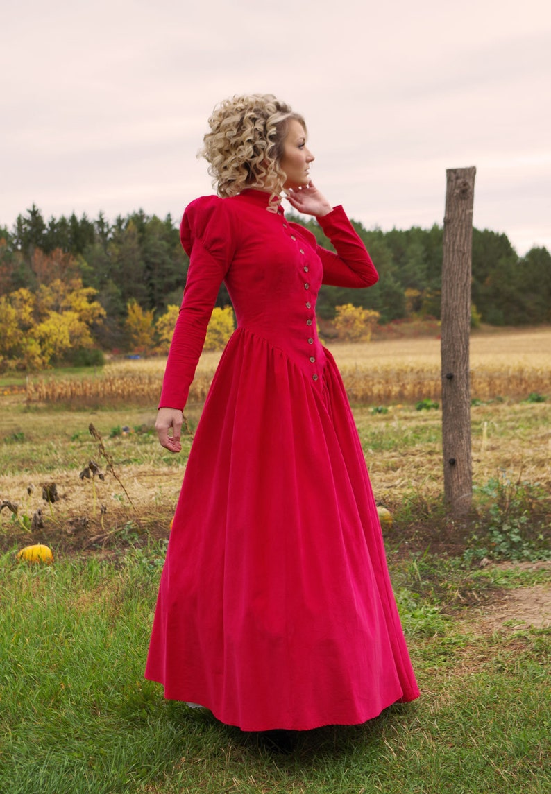 Victorian Clothing, Costumes & 1800s Fashion 726CRD Victorian Dickens Style Corduroy Dress $169.95 AT vintagedancer.com