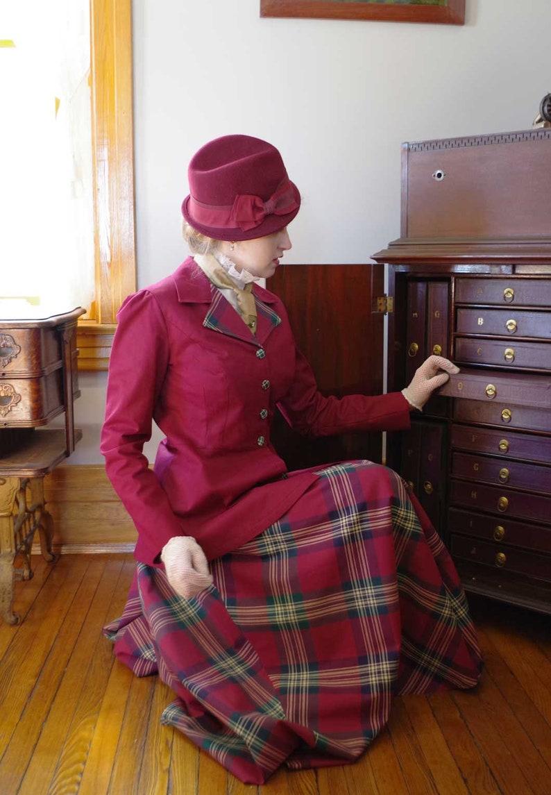 Victorian Edwardian Tea Dress and Gown Guide Bonny-jean Edwardian Plaid Burgundy Suit $199.95 AT vintagedancer.com
