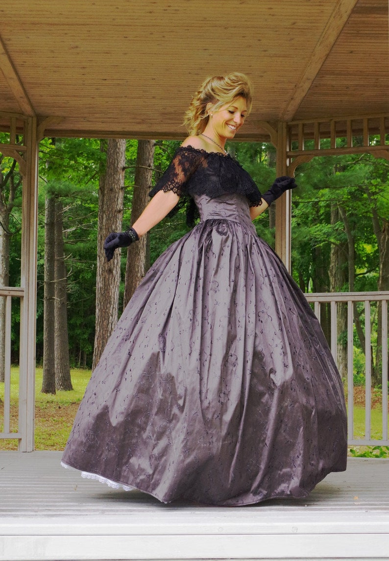 Victorian Costumes: Dresses, Saloon Girls, Southern Belle, Witch Jayne Gray Silk Victorian Ball Gown $249.95 AT vintagedancer.com