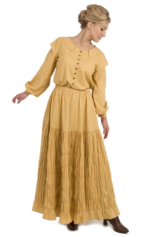 1920s Downton Abbey Dresses Chloe Prairie Work Blouse and Skirt $165.00 AT vintagedancer.com