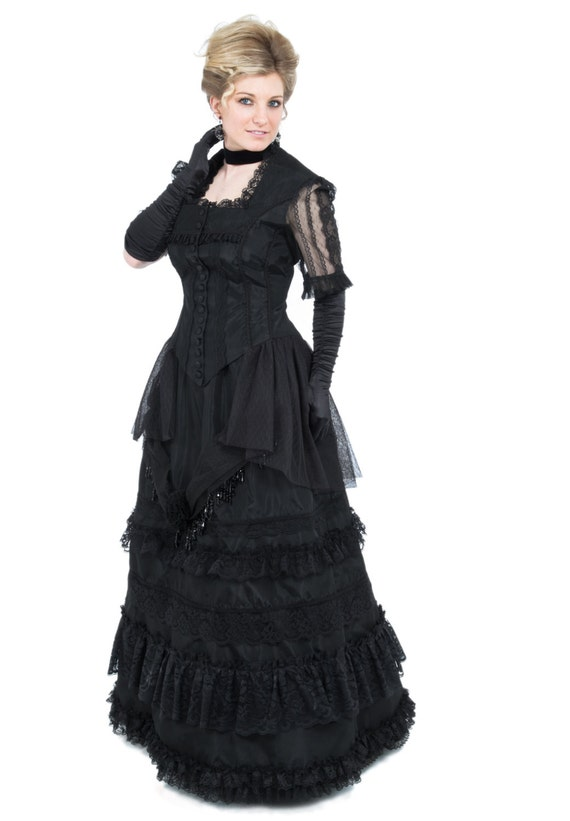 Victorian Dresses, Clothing: Patterns, Costumes, Custom Dresses Victorian Lace and Taffeta Dress $270.00 AT vintagedancer.com