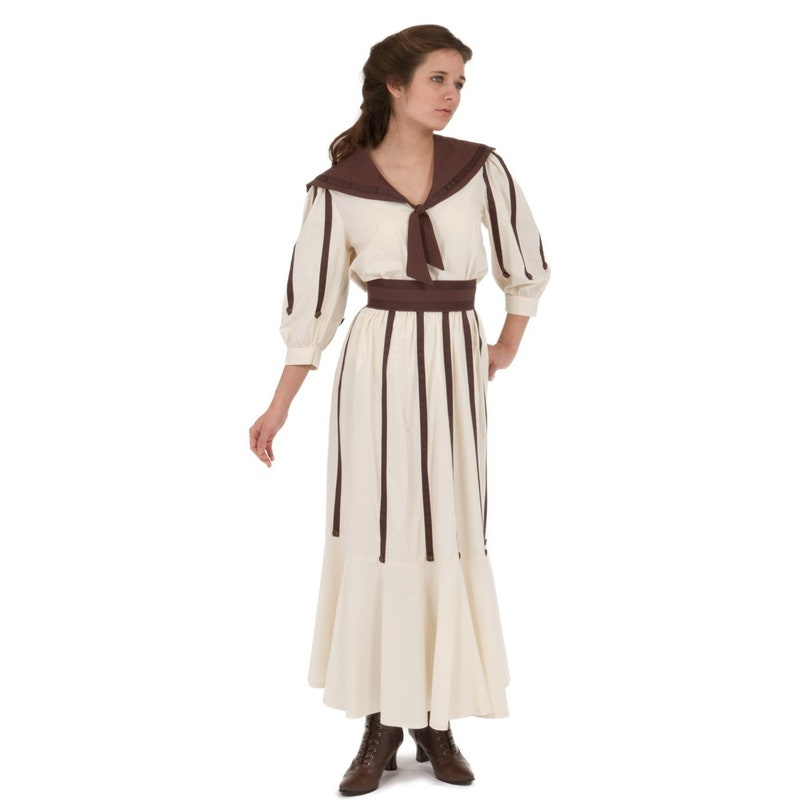1920s Downton Abbey Dresses Zell Edwardian Dress $175.96 AT vintagedancer.com