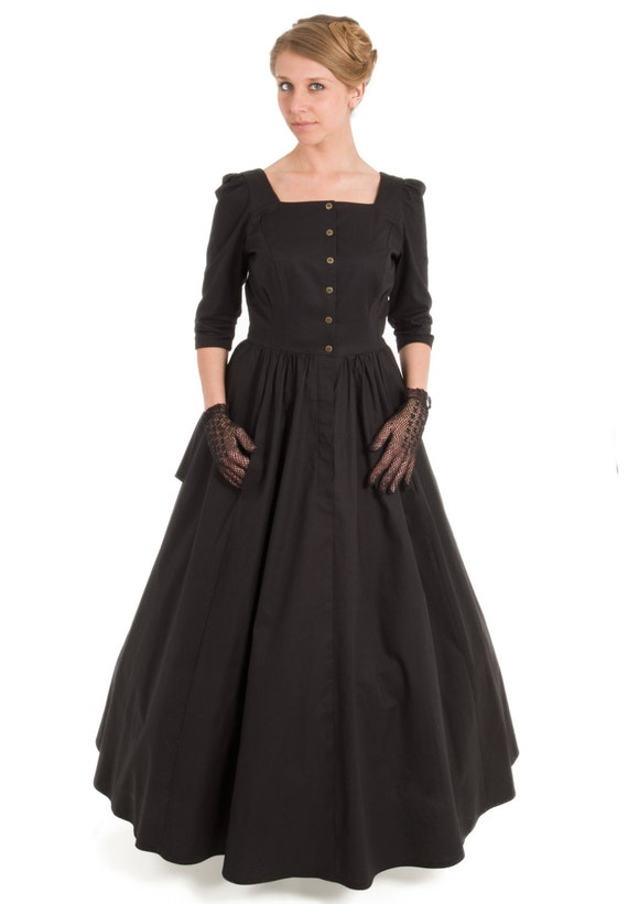 Steampunk Dresses | Women & Girl Costumes Victorian Style Cotton Dress $105.00 AT vintagedancer.com