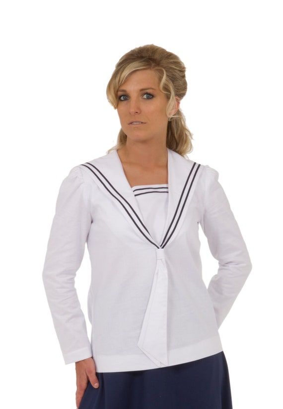 Victorian Plus Size Dresses | Edwardian Clothing, Costumes Sailor Blouse $68.00 AT vintagedancer.com