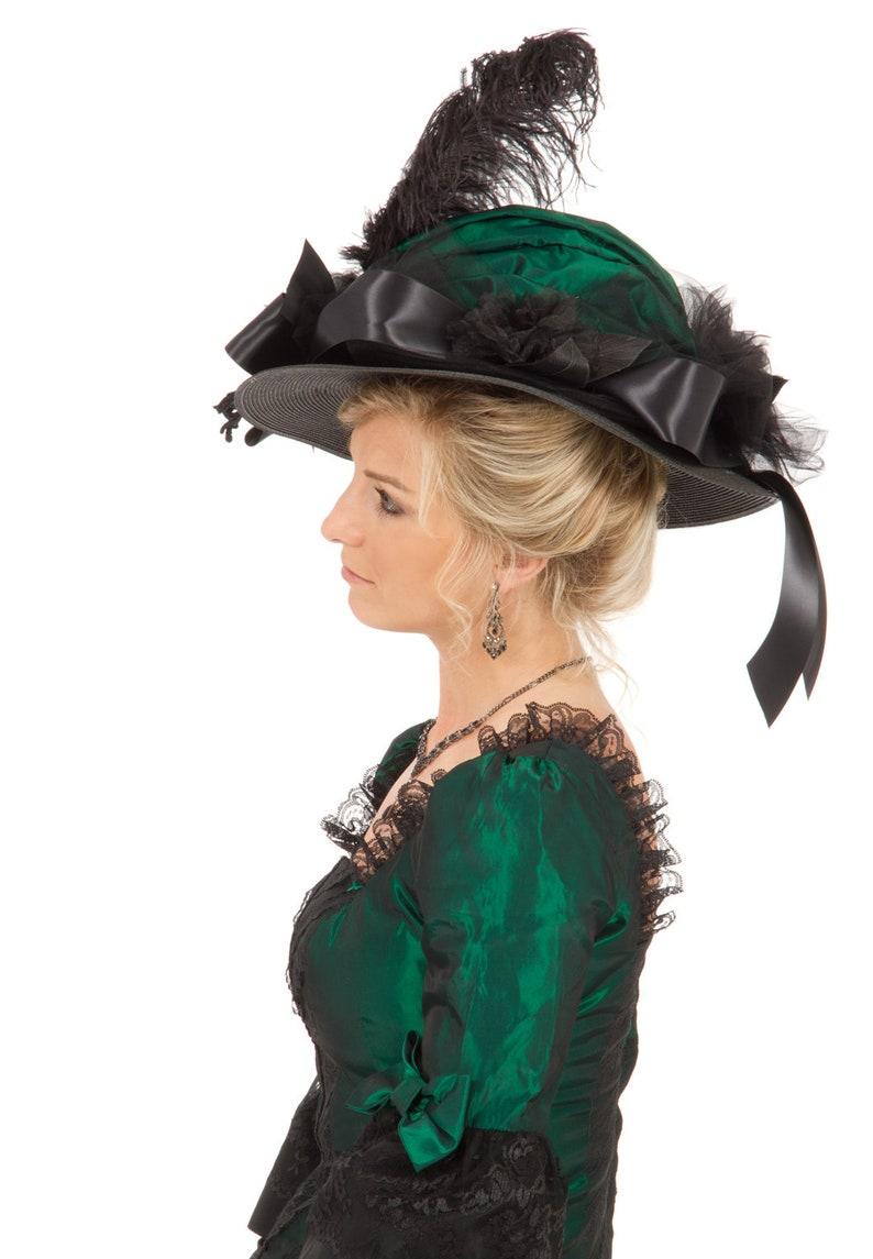 Edwardian Hats, Titanic Hats, Tea Party Hats H160771 Dupioni Victorian Edwardian Hat $79.95 AT vintagedancer.com