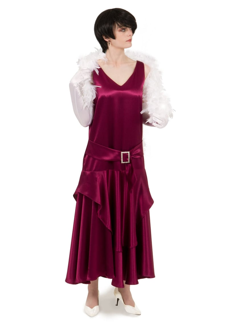 1920s Outfit Ideas: 10 Downton Abbey Inspired Costumes 170902 Satin Flapper Dress $159.95 AT vintagedancer.com