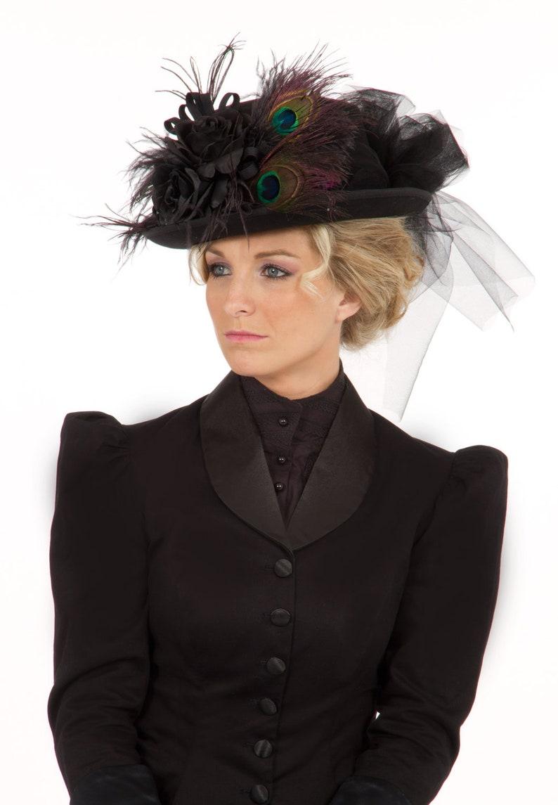 Steampunk Costume Essentials for Women H160624 Black Riding Hat $89.95 AT vintagedancer.com