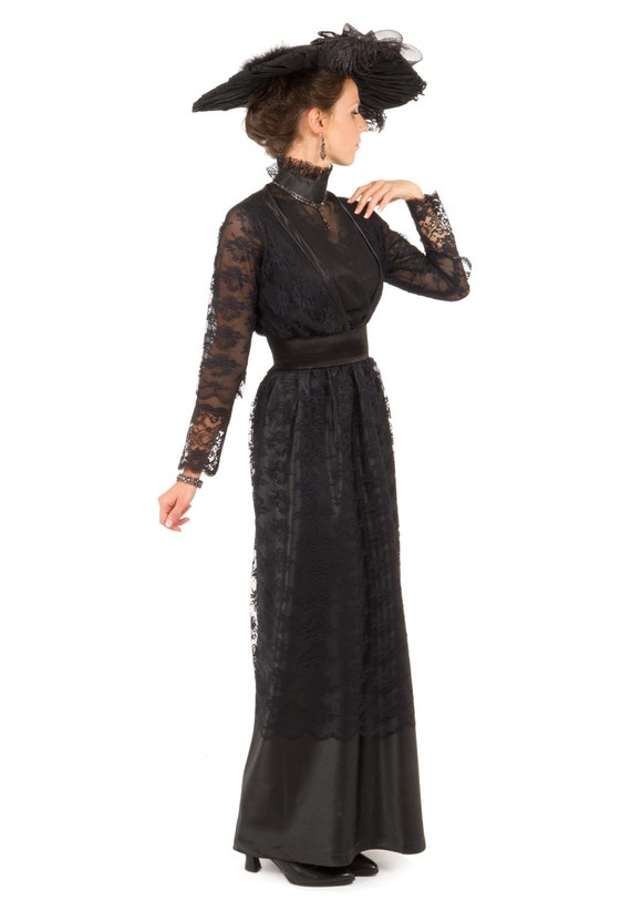 Old Fashioned Dresses | Old Dress Styles Olivia Edwardian Lace and Satin Dress $179.96 AT vintagedancer.com