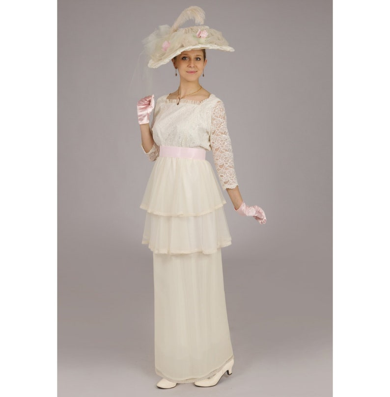 Victorian Plus Size Dresses | Edwardian Clothing, Costumes Dominique Edwardian Gown $175.96 AT vintagedancer.com