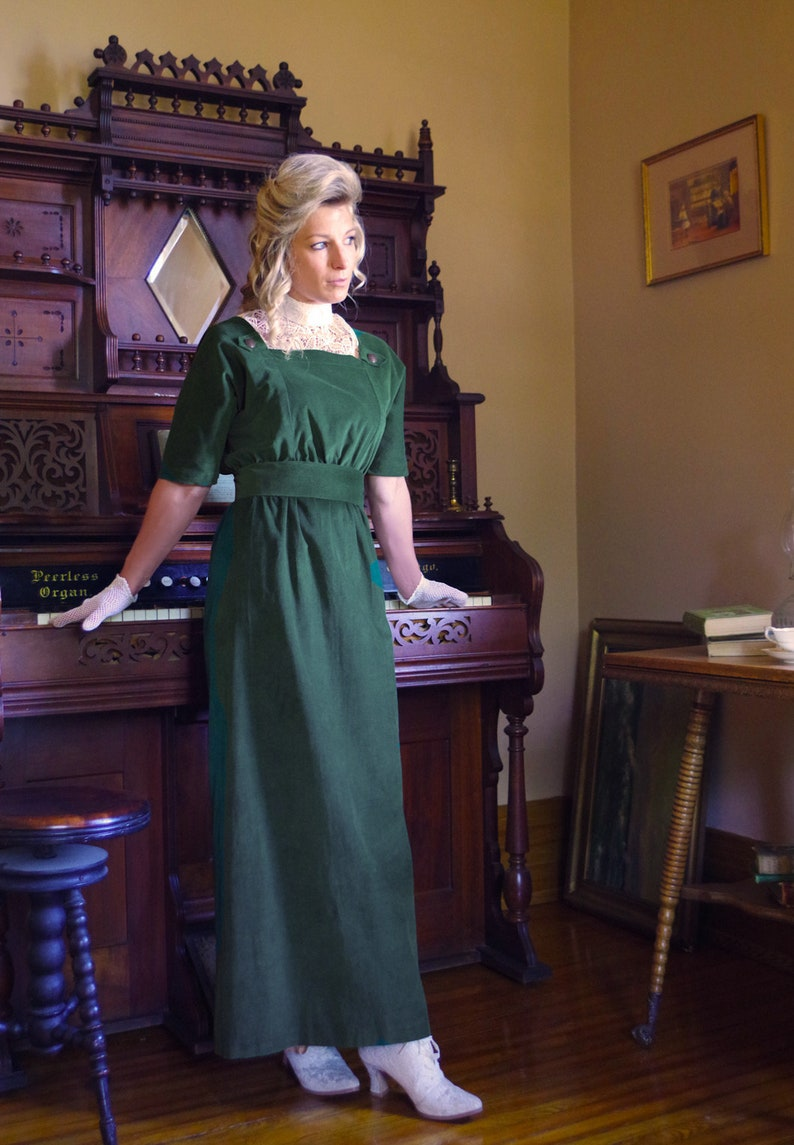 1920s Outfit Ideas: 10 Downton Abbey Inspired Costumes Edwardian Style Corduroy Dress $129.95 AT vintagedancer.com