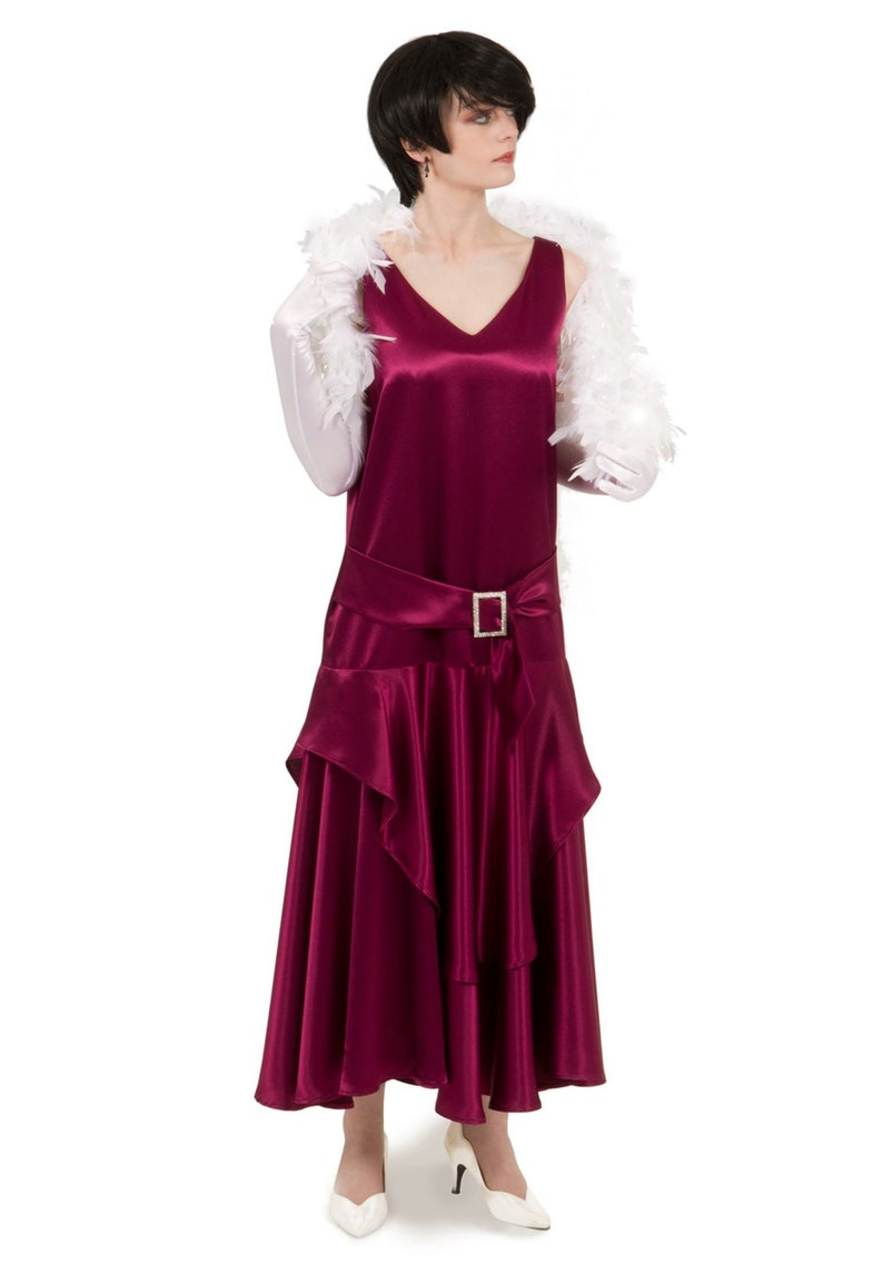 Vintage 1920s Dresses – Where to Buy Satin Flapper Dress $127.96 AT vintagedancer.com