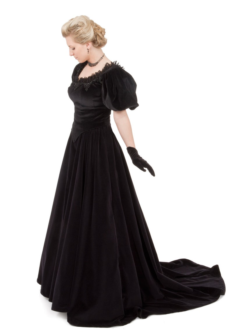 Vintage Tea Dresses, Floral Tea Dresses, Tea Length Dresses Verona Victorian Fancy Gown $339.95 AT vintagedancer.com