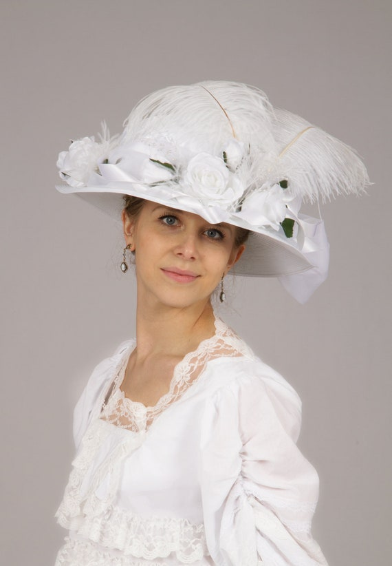 Tea Party Hats – Victorian to 1950s Lura Edwardian White Hat $68.00 AT vintagedancer.com