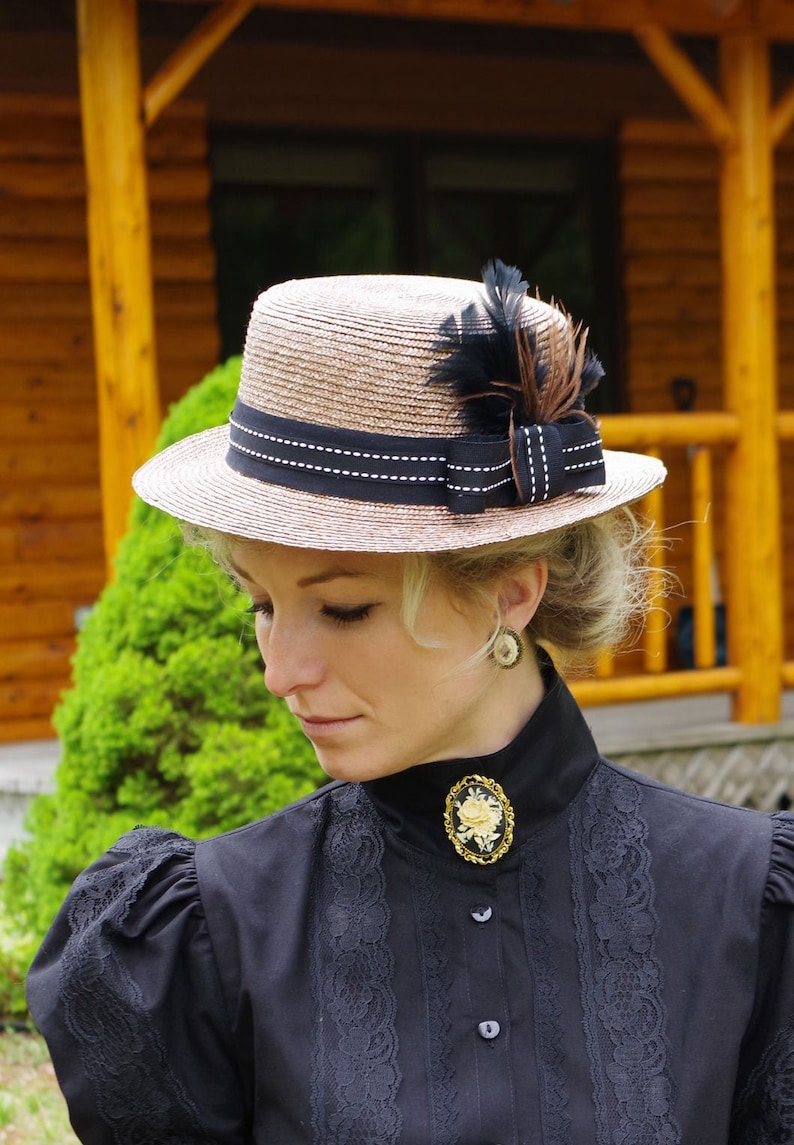 Tea Party Hats – Victorian to 1950s Picnic Hat Victorian Edwardian straw Hat Reccolections $69.95 AT vintagedancer.com