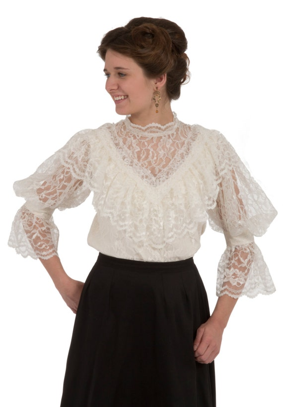Edwardian Blouses | White & Black Lace Blouses & Sweaters Avonlea Edwardian Blouse $90.00 AT vintagedancer.com