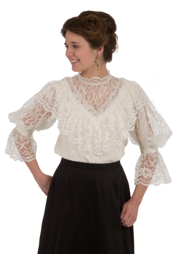 1900-1910s Clothing Avonlea Edwardian Blouse $90.00 AT vintagedancer.com