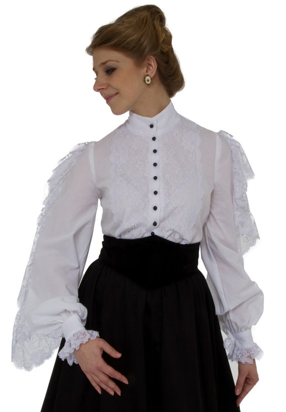Victorian Blouses, Tops, Shirts, Sweaters Victorian White Batiste Lacy Blouse $68.00 AT vintagedancer.com