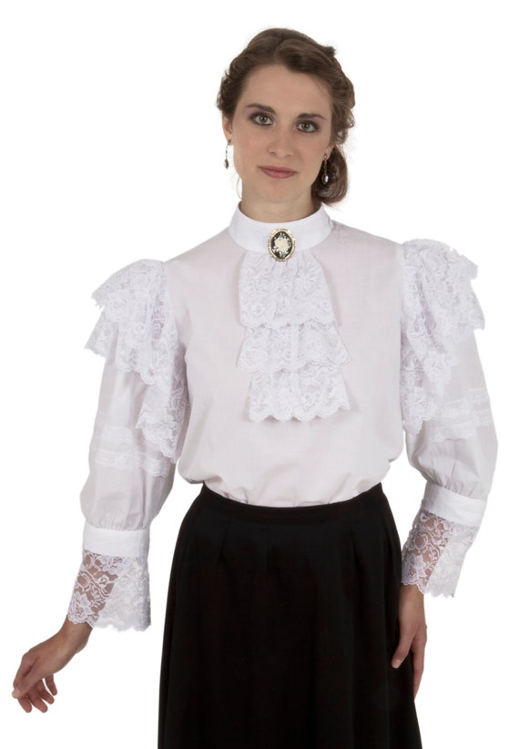 Edwardian Blouses | White & Black Lace Blouses & Sweaters Edwardian Blouse $68.00 AT vintagedancer.com