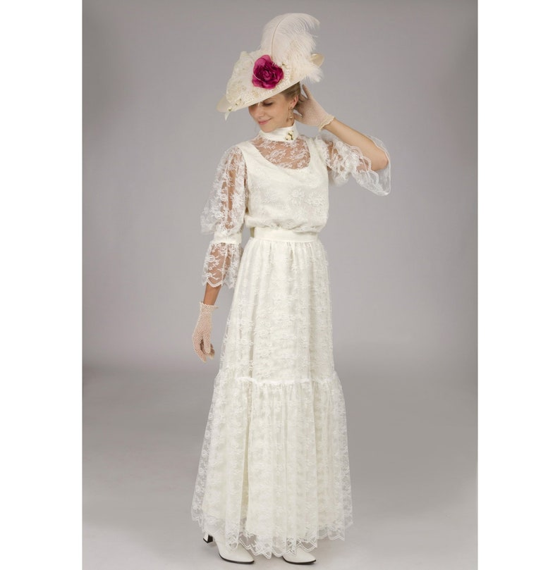 1900 Edwardian Dresses, Tea Party Dresses, White Lace Dresses Chantilly Lace Edwardian Dress $239.95 AT vintagedancer.com