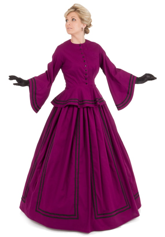 Victorian Dresses, Clothing: Patterns, Costumes, Custom Dresses Mallory Victorian Civil War Dress $210.00 AT vintagedancer.com