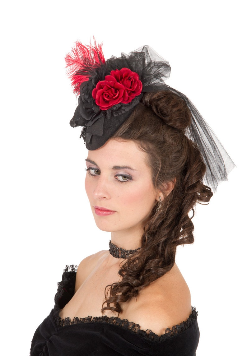 Victorian Hat History | Bonnets, Hats, Caps 1830-1890s Red Roses Teardrop Hat $69.95 AT vintagedancer.com