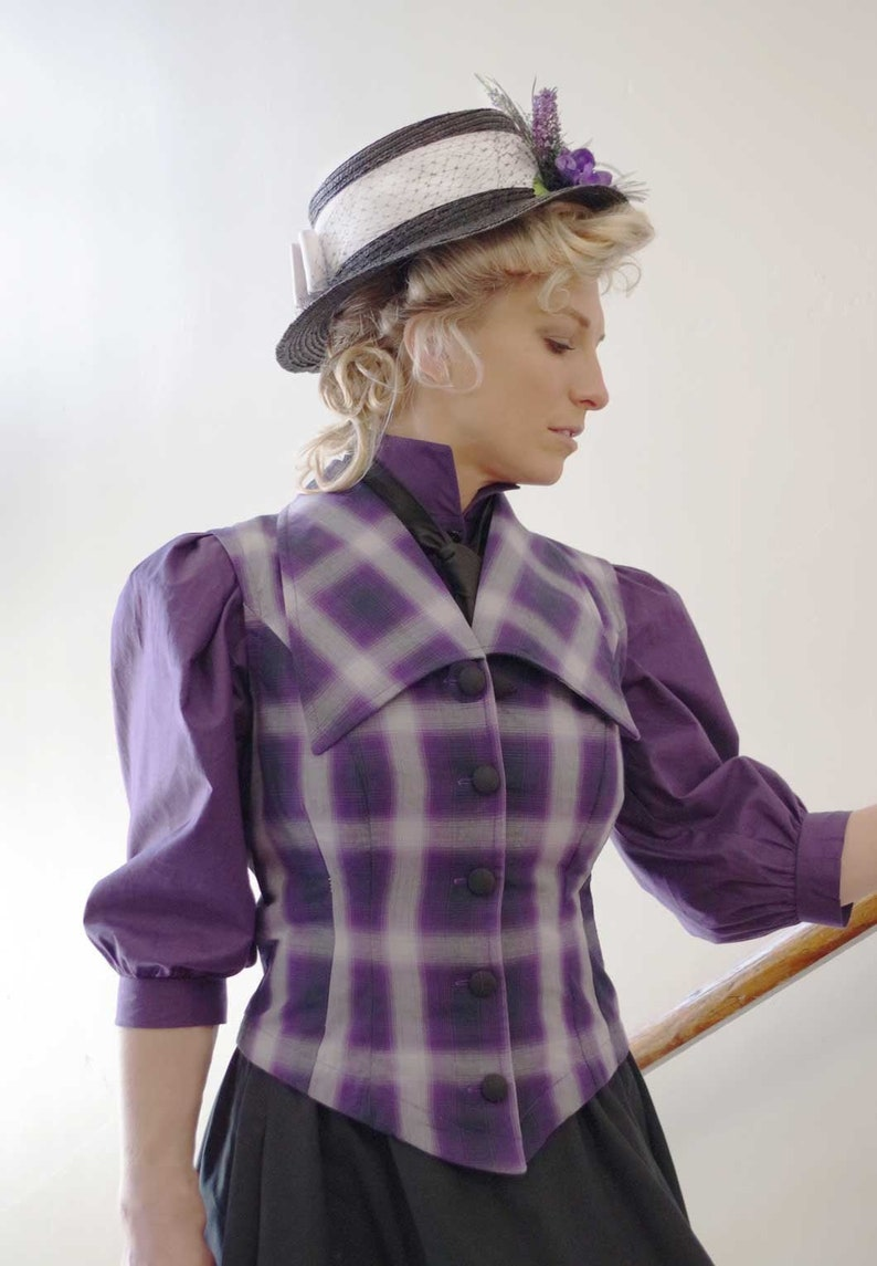 1900 -1910s Edwardian Fashion, Clothing & Costumes Clothilde Purple Plaid Edwardian Vest $89.95 AT vintagedancer.com