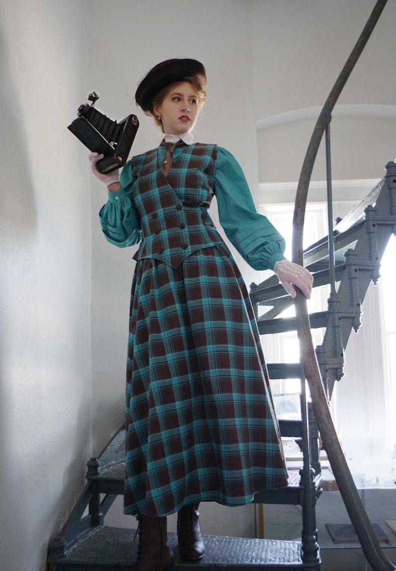 Edwardian Skirts History – 1900 – 1910s Moira Vest and Skirt $159.95 AT vintagedancer.com