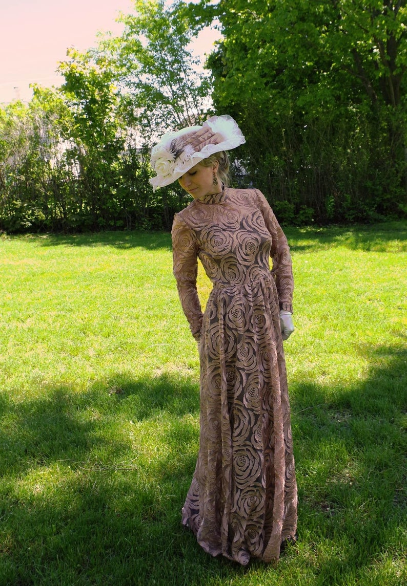 Edwardian Evening Gowns , Ballgowns, Formal Dresses  Goldensand Edwardian Lace Dress $249.95 AT vintagedancer.com