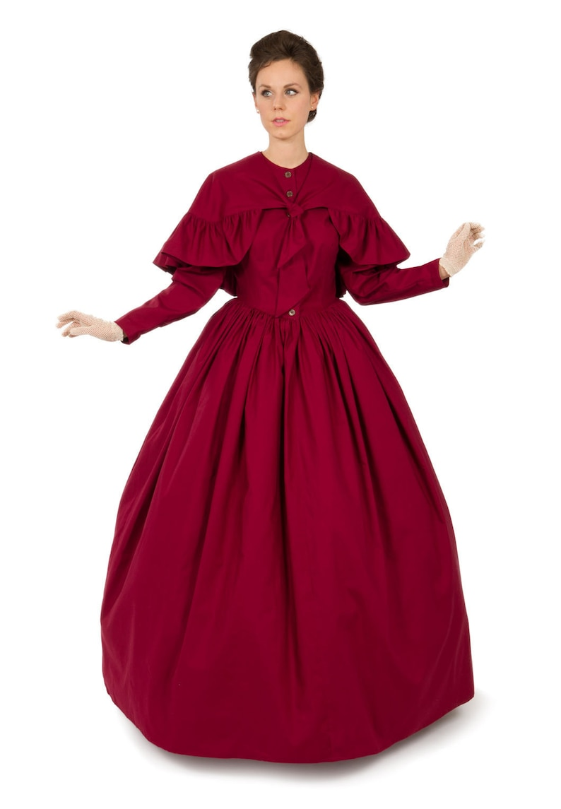 Victorian Dresses | Victorian Ballgowns | Victorian Clothing 1850 Romantic Era Cotton Dress and Cape $183.96 AT vintagedancer.com
