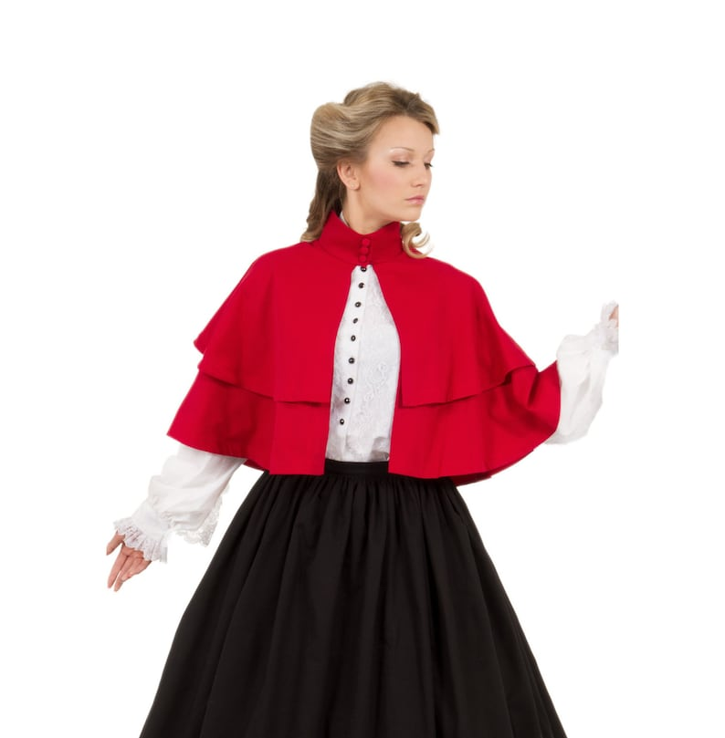 Vintage Coats & Jackets | Retro Coats and Jackets Double Tiered Hip Length Cape $89.95 AT vintagedancer.com