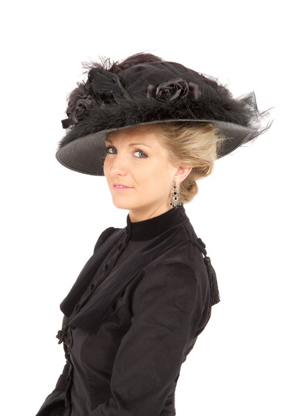 Tea Party Hats – Victorian to 1950s Black Edwardian Hat $68.00 AT vintagedancer.com
