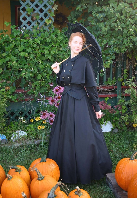 Victorian Dresses, Clothing: Patterns, Costumes, Custom Dresses Edwardian Twill Cape Blouse and Skirt  AT vintagedancer.com