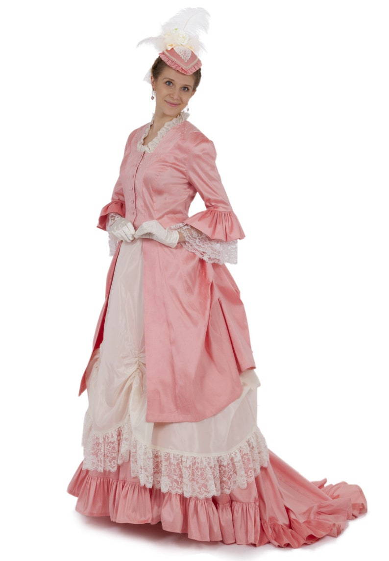 Victorian Dresses | Victorian Ballgowns | Victorian Clothing 1870 Perla Victorian Polonaise Bustle Dress $469.95 AT vintagedancer.com
