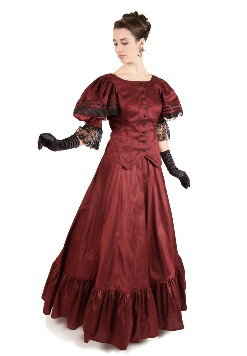 Victorian Dresses | Victorian Ballgowns | Victorian Clothing Lara Victorian Dupioni Lace Trimmed Gown $229.95 AT vintagedancer.com