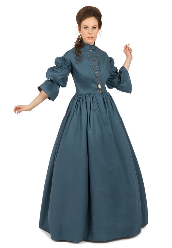 Victorian Dresses, Clothing: Patterns, Costumes, Custom Dresses Civil War Styled Cotton Dress $135.00 AT vintagedancer.com