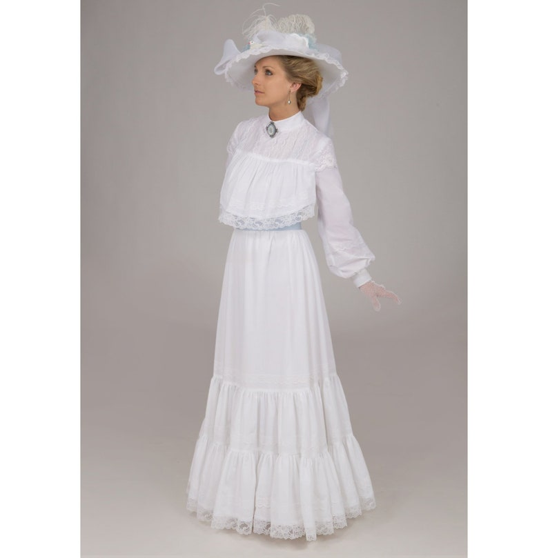 1900 Edwardian Dresses, Tea Party Dresses, White Lace Dresses Bella Edwardian Dress $229.95 AT vintagedancer.com