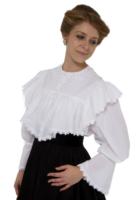 Victorian Clothing, Costumes & 1800s Fashion Edwardian White Batiste Lacy Blouse $70.00 AT vintagedancer.com