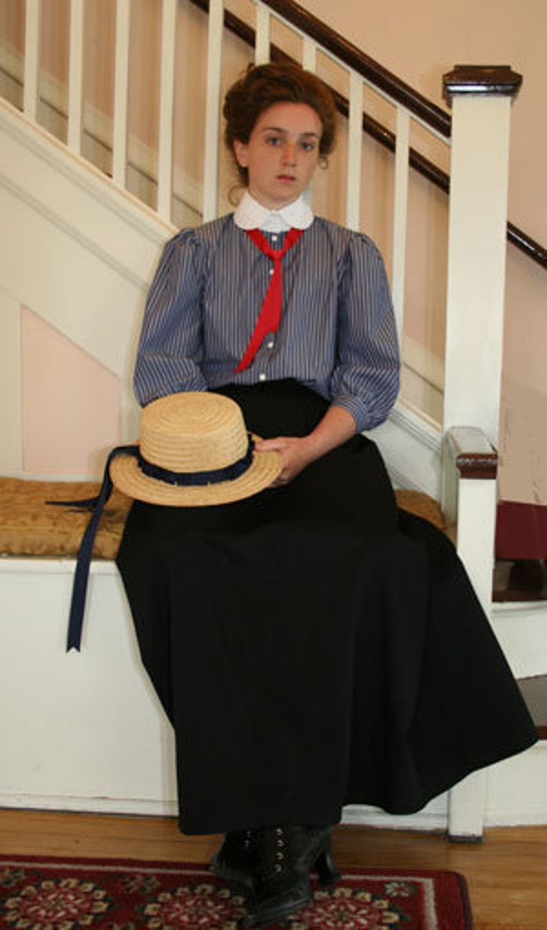 1900 -1910s Edwardian Fashion, Clothing & Costumes Mazie Edwardian Victorian Cotton Stripe Blouse $79.95 AT vintagedancer.com