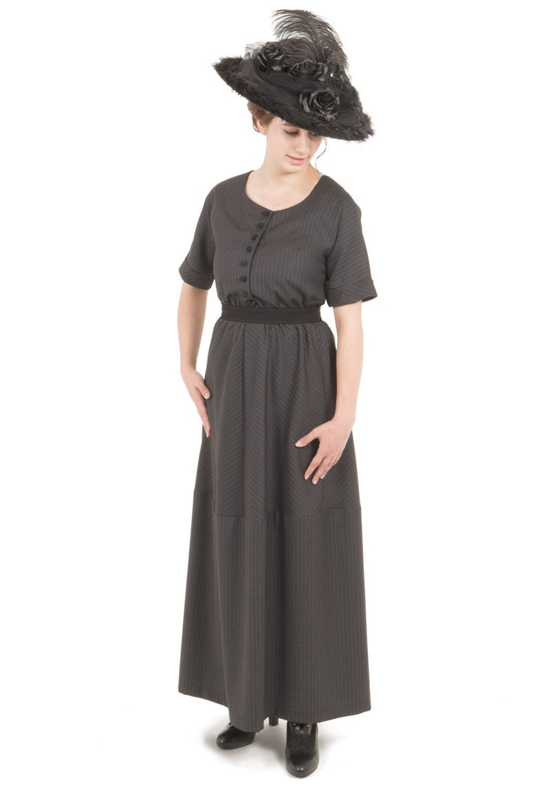 Vintage Tea Dresses, Floral Tea Dresses, Tea Length Dresses Agnes Charcoal Pinstripe Edwardian Dress and Belt $159.95 AT vintagedancer.com