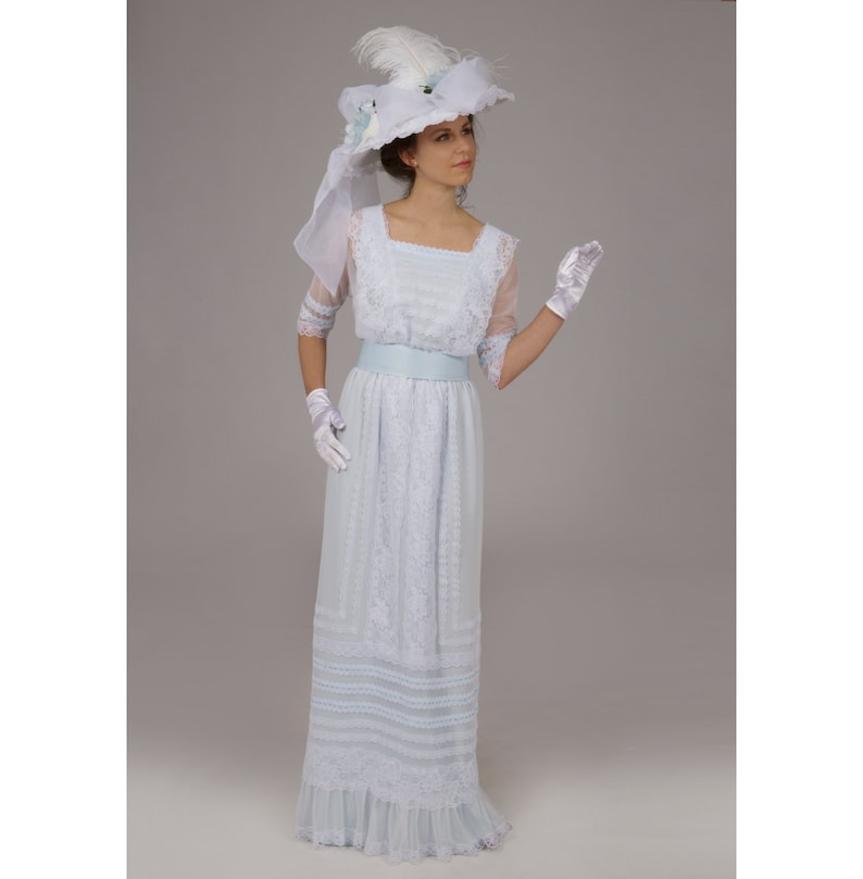 1900 -1910s Edwardian Fashion, Clothing & Costumes Estella Edwardian Dress 160377-8 Estella Edwardian Dress $279.95 AT vintagedancer.com
