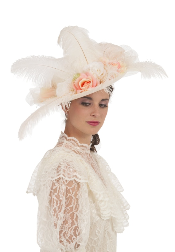 Tea Party Hats – Victorian to 1950s Ivory and Peach Edwardian Hat $60.00 AT vintagedancer.com