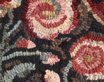 Cottage Garden Hooked Rug Pattern from Winter Cottage. A primitive rug hooking pattern.