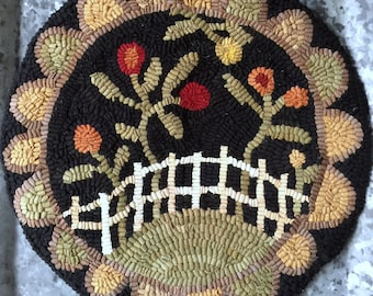 """Rug Hooking Pattern/Chair Pad/Flower Garden/Hooked rug pattern hand drawn on primitive linen 14"""" rnd/Primitive/Processing time is 1-3 days."""