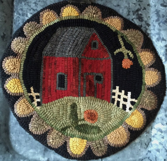"""12/"""" Round Linen Hooked Rug Pattern /""""Goat Go Round/"""" *PATTERN ONLY*"""