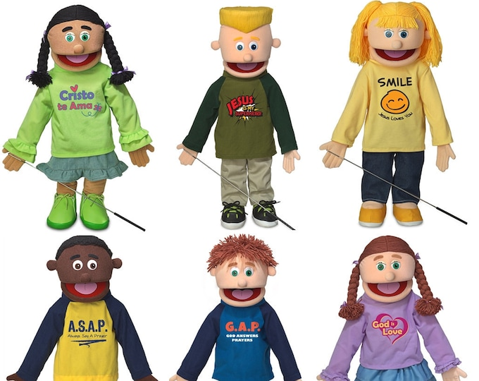 """Puppet Ministry Puppets: Set of 6 Christian Kids 25"""" Full Body Professional Puppets"""